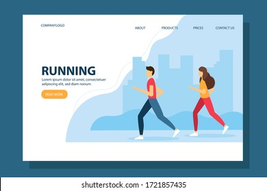 Vector illustration for city run, training, marathon, cardio exercising. Man and woman running in the park.  Landing page template.