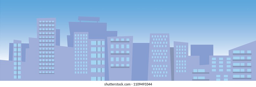 Vector illustration of city skyline with blue sky with sun and clouds. Buildings silhouette cityscape. Flat style.