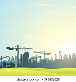 Vector illustration. City Skyline. Buildings Construction