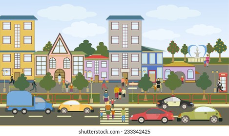 Vector illustration of a city street with colorful icons of cars, people, trees and buildings