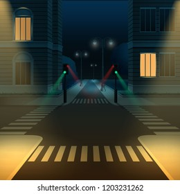 Vector illustration of city street road intersection or crossroad with traffic lights at dark night