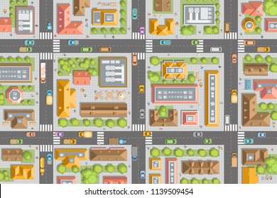 Vector illustration. City top view. Streets, houses, buildings, roads, crossroads,  trees, cars. (view from above)