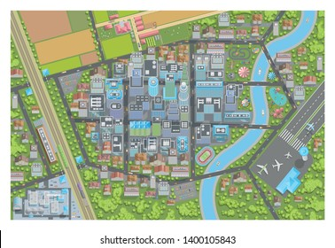 Vector illustration. City top view. Cityscapes view from above. Streets, houses, buildings, roads, parks, farm, field, factory, airport, suburb.
