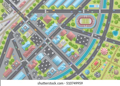 Vector illustration. City top view. Cityscape view from above.