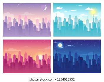 Vector illustration of City Urban Skyline Landscape, clouds, tower, buildings in flat style. Morning, day, evening and night cityscape. Silhouette downtown with skyscrapers and modern architecture.