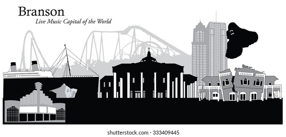 Vector illustration of the cityscape of Branson, Missouri