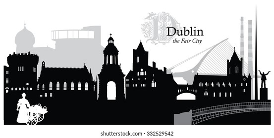 Vector illustration of the cityscape of Dublin, Ireland