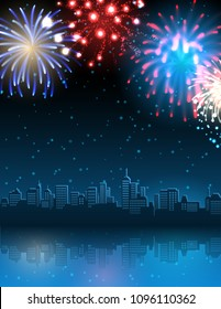 Vector illustration - cityscape with fireworks