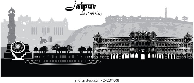Vector illustration of the cityscape of Jaipur, India.