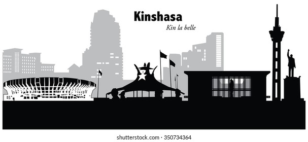 Vector illustration of the cityscape of Kinshasa, Congo