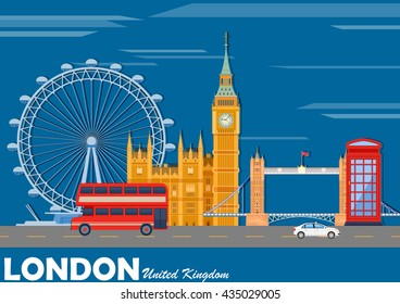 vector illustration of cityscape of London with famous monument