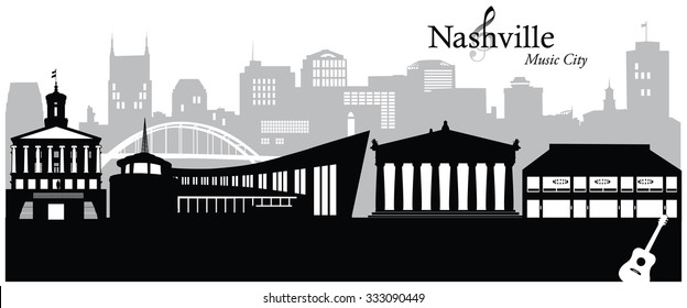 Vector illustration of the cityscape of Nashville, Tennessee