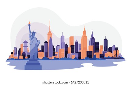 Vector illustration. cityscape. New York and Chrysler building. Isometric perspective. Cartoon Style.