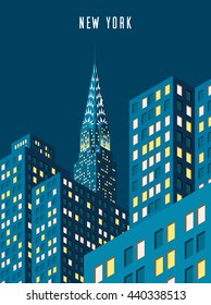 Vector illustration. cityscape. Night New York and Chrysler building. Isometric perspective. Cartoon Style.