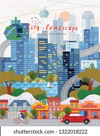 vector illustration of cityscape panorama, abstract illustration of a city background, modern metropolis with houses, skyscrapers, roads, cars and cyclist