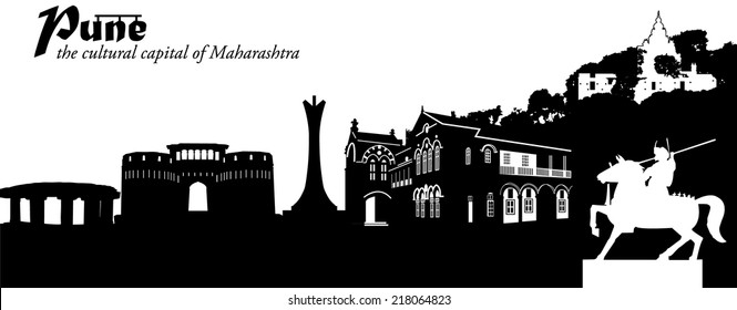 Vector illustration of the cityscape of Pune, India, as a silhouette