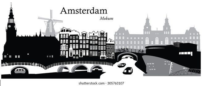 Vector illustration of the cityscape skyline of Amsterdam, Netherlands