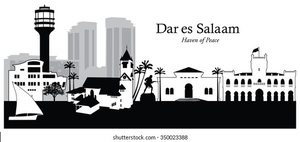 Vector illustration of the cityscape skyline of Dar es Salaam, Tanzania
