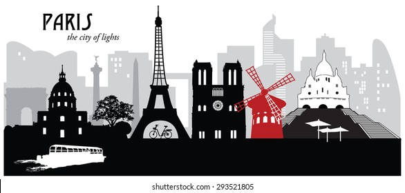 Vector illustration of the cityscape skyline of Paris, France