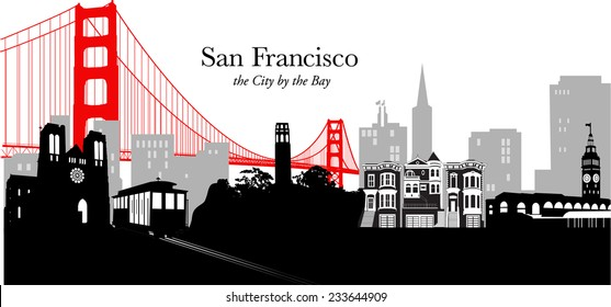 Vector illustration of the cityscape / skyline of San Francisco, California, with the Golden Gate bridge