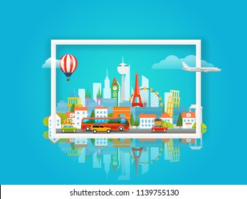 Vector illustration with cityscape. Travel concept