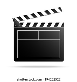Vector illustration of clapper board, isolated on white.