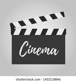 Vector illustration with clapperboard for movie making. Clapper with titles for cinema, filmmaking. Slapperboard in cartoon style.