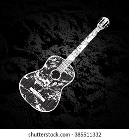 Vector illustration of a classic acoustic guitar on a dark textural background in black and white, monochrome image