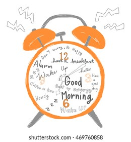 vector illustration - classic alarm clock ringing with greeting messages on clock face or clock dial such as have a good day, good morning, hello, howdy. Wake up messages included.