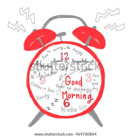 Vector illustration classic alarm clock ringing stock vector vector illustration classic alarm clock ringing with greeting messages on clock face or clock dial m4hsunfo