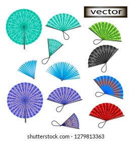 Vector illustration Classic for aristocrats fan set isolated on white background. Traditional silk, cloth or paper Chinese or Japanese for geisha folding fans