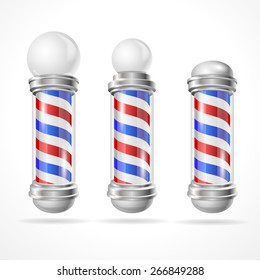 Vector illustration classic barber shop pole collection isolated on white background