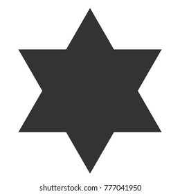 Vector illustration: classic black simple 6-cornered star icon with chalkboard texture isolated on white background
