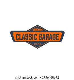 Vector illustration of classic car with geometric frame and text isolated on white background good for classic car garage logo which serves maintenance