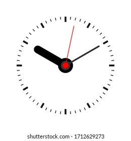 Vector illustration of a classic clock face with 3 hands on a white background.