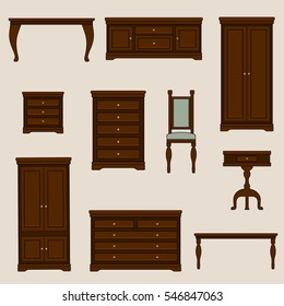 A vector illustration of classic furniture. Pieces of furniture.
