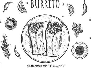 Vector illustration of classic mexican roll set. Top view on two burito served on the plate with salsa sauce, cpices and vegetables on the side. Vintage hand drawn style.