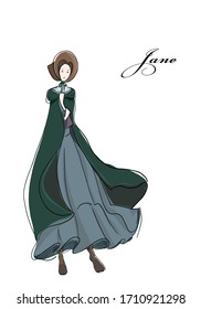 "Vector illustration of classic novel ""Jane Eyre"" by Charlotte Bronte. Beautiful victorian girl in the poor dress. Vintage picture of cute woman"