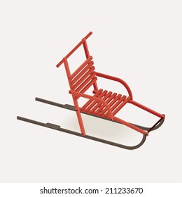 Vector illustration of classic red kick sled   Winter recreational item: red kick sled