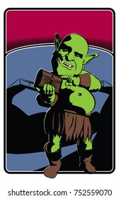 A vector illustration of the classic spooky troll  in front of a rickety rope bridge.  Done in retro comic book style,  11x17 ratio,  6 colors, perfect, for posters, fliers, bands, and events.