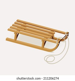 Vector illustration of classic wooden sleds with pulling rope   Retro looking natural wood color snow sled for kids