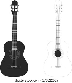 Vector illustration classical guitar black & white isolated