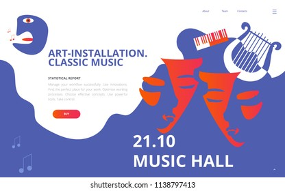 Vector illustration for classical music concert hall or musician theater. Great as concert ticket, poster, flyer template or music theater or philharmonic hall web page mock-up.