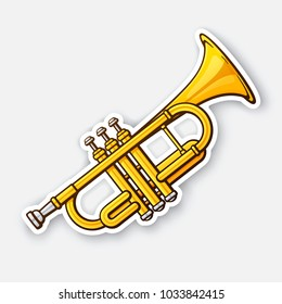 Vector illustration. Classical music wind instrument trumpet. Rock or jazz equipment. Sticker with contour. Isolated on white background