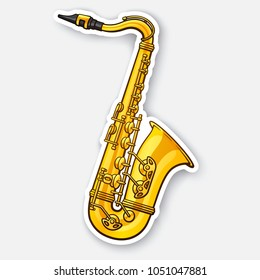 Vector illustration. Classical music wind instrument saxophone. Blues, funk or jazz musical equipment. Sticker with contour. Isolated on white background