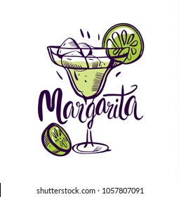 Vector illustration Classics margarita on white background.