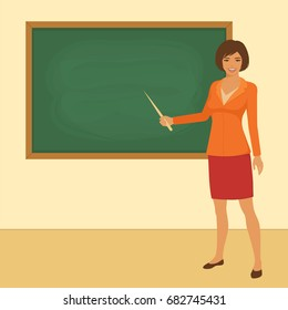 vector illustration of classroom in school, teacher in front of board