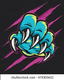 Vector illustration of a claw scratching forward over halftone textured claw marks ripping or scratching through paper