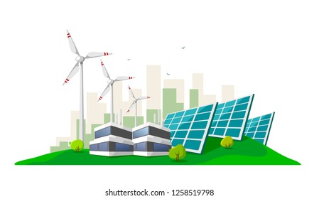 Vector illustration of clean electric energy from renewable sources sun and wind on white. Power plant station buildings with solar panels and wind turbines on city skyline urban landscape