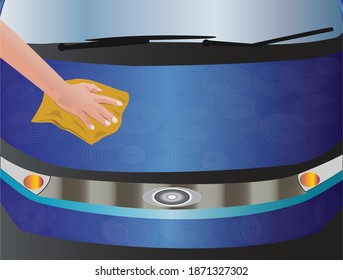 Vector Illustration of cleaning car with soiled rag resulting in swirl marks